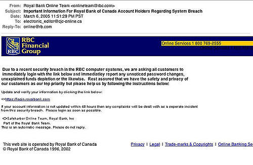 A phishing email from a botnet attack.