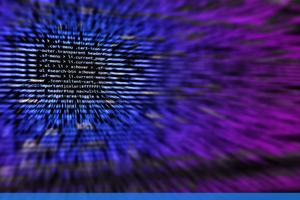 CLose up of purple code on a computer screen