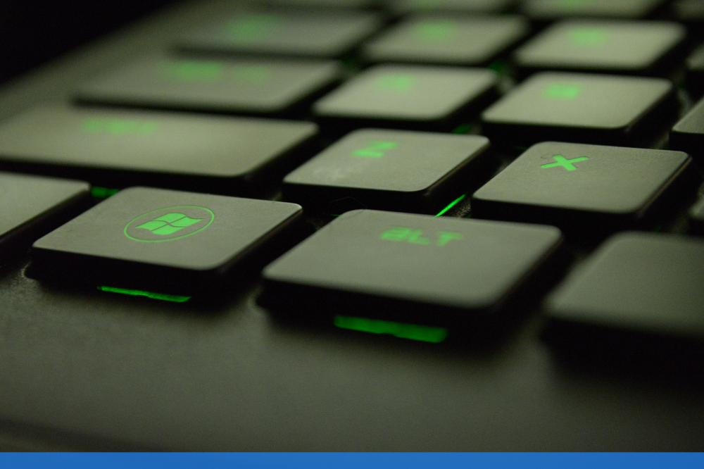 Close up of green keyboard