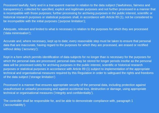 GDPR principles