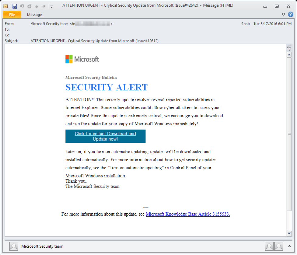 A malware based phishing attack appearing as the company Microsoft.