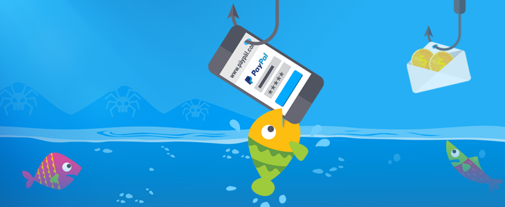 Phishing image with fish on a hook