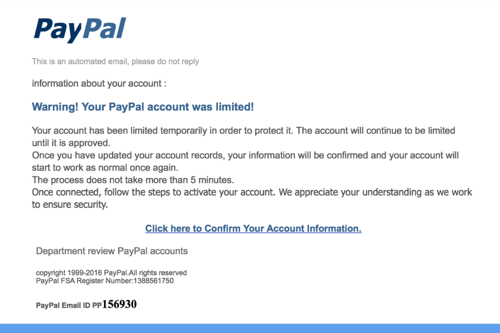 Screenshot of a paypal phishing email