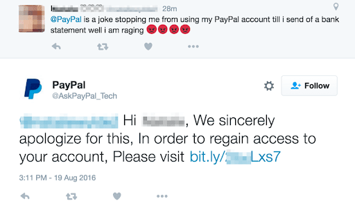 Screenshot of Angler Phishing on a fake pay pal Twitter account.
