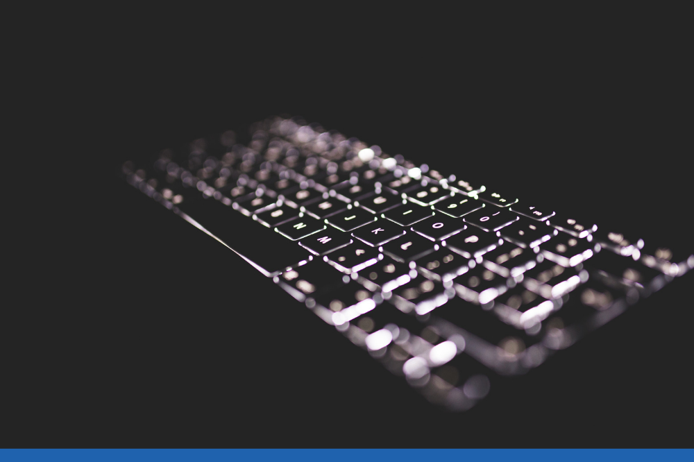Black and white keyboard in the dark