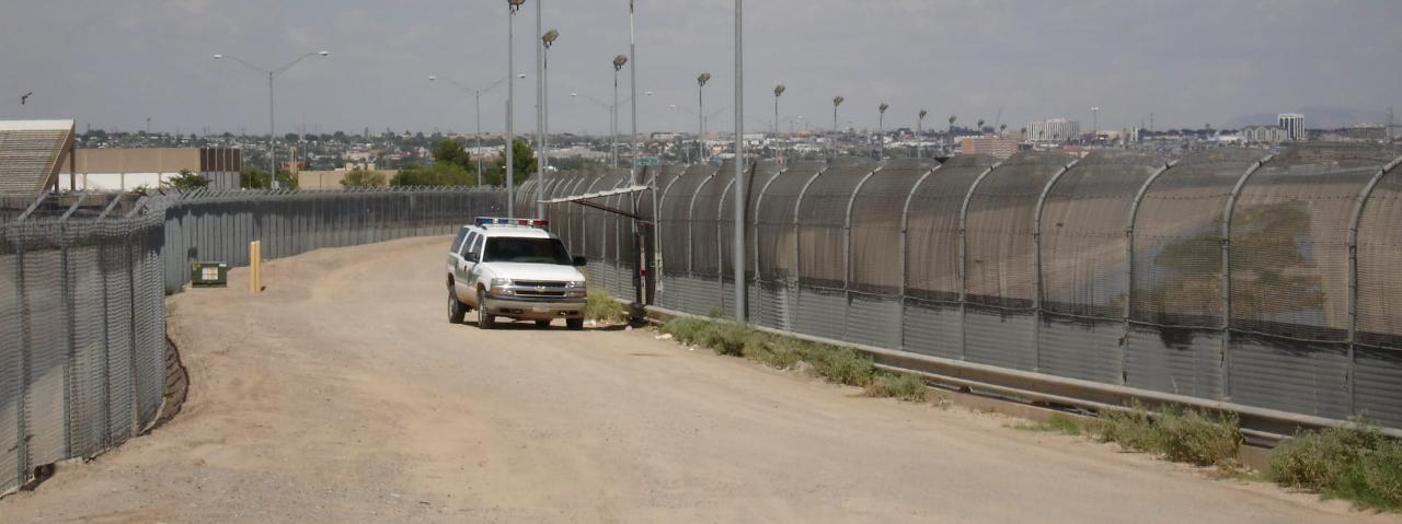 US law enforcement vehicle on US-Mexico border