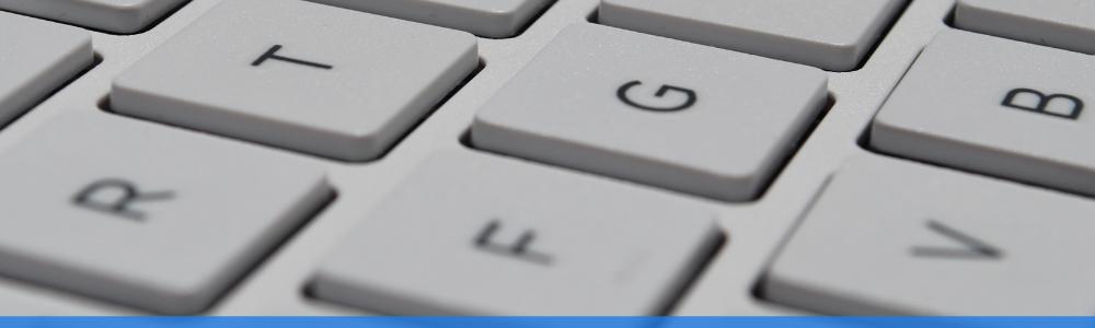 close up of white keyboard