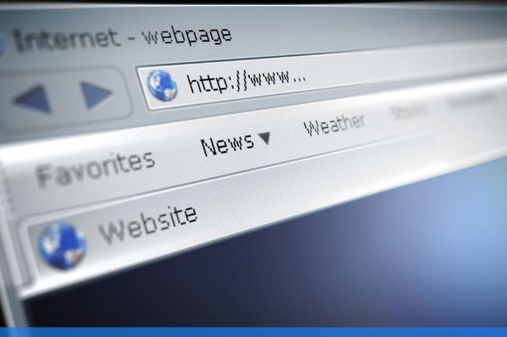 closeup of url on a computer