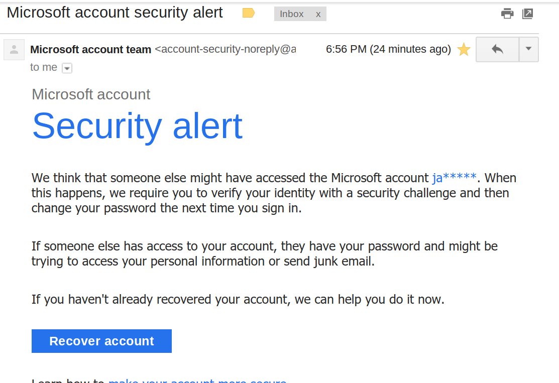 A cloud phishing attempt to access the victims information on Microsoft.