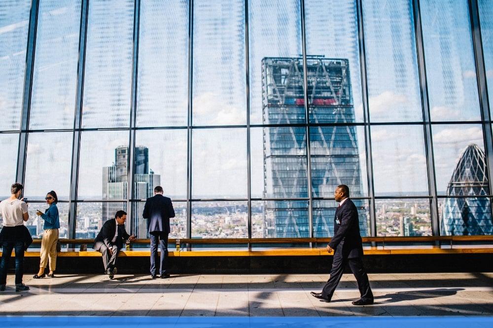 executive walking to work
