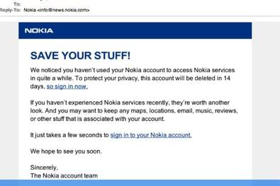 phishing email on nokia phone