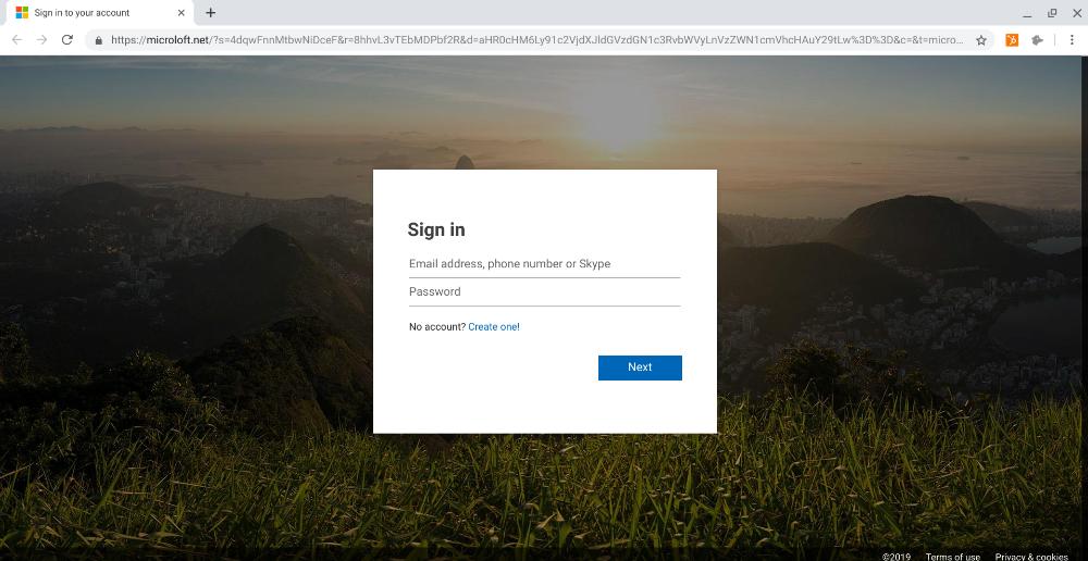 Phishing landing page Microsoft Office