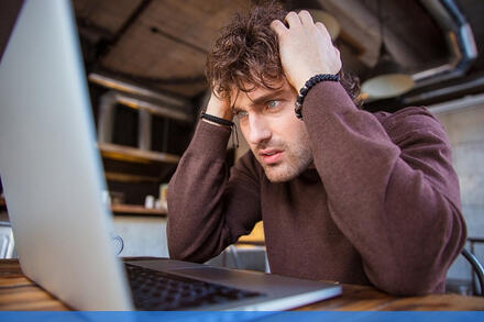 stressed employee working remotely