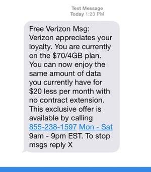text message screenshot ofa phishing attempt