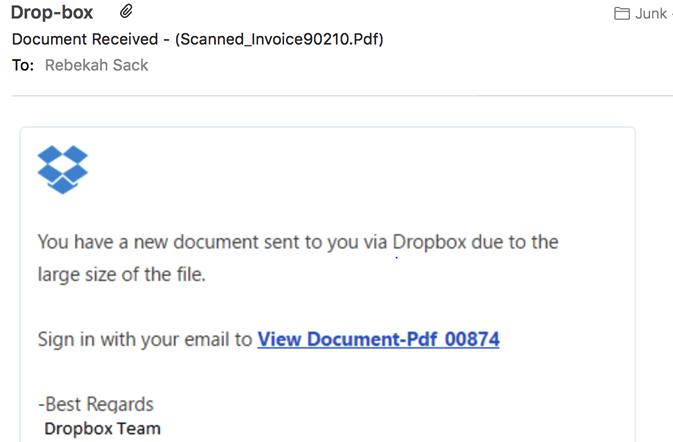 Dropbox phishing scam