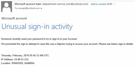 Unusual activity phishing scam