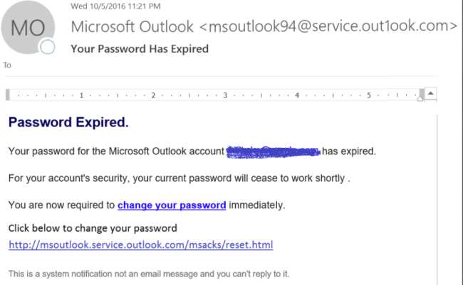 Password has expired phishing scam